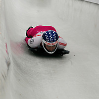27 February 2007:  Noelle Pikus-Pace of the United States slides through turn 13 and a 8th place finish in the 4th run at the Women's Skeleton World Championships competition on February 27 at the Olympic Sports Complex in Lake Placid, NY.