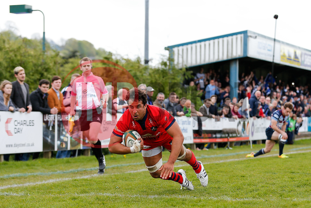 Bristol Rugby Flanker Marco Mama scores a try - Photo mandatory by-line: Rogan Thomson/JMP - 07966 386802 - 10/05/2015 - SPORT - RUGBY UNION - Abbeydale Park, Sheffield - Rotherham Titans v Bristol Rugby - Greene King IPA Championship Play Off Semi Final Second Leg.