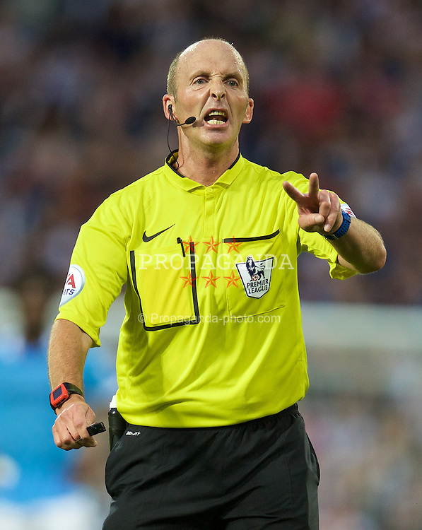 WEST BROMWICH, ENGLAND - Monday, August 10, 2015: Referee Mike Dean during the Premier League match between West Bromwich Albion and Manchester City at the Hawthorns. (Pic by David Rawcliffe/Propaganda)