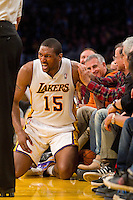 11 March 2012: Meta World Peace of the Los Angeles Lakers gets up after jumping into the crowd for a loose ball against the Boston Celtics during the second half of the Lakers 97-94 victory over the Celtics at the STAPLES Center in Los Angeles, CA.
