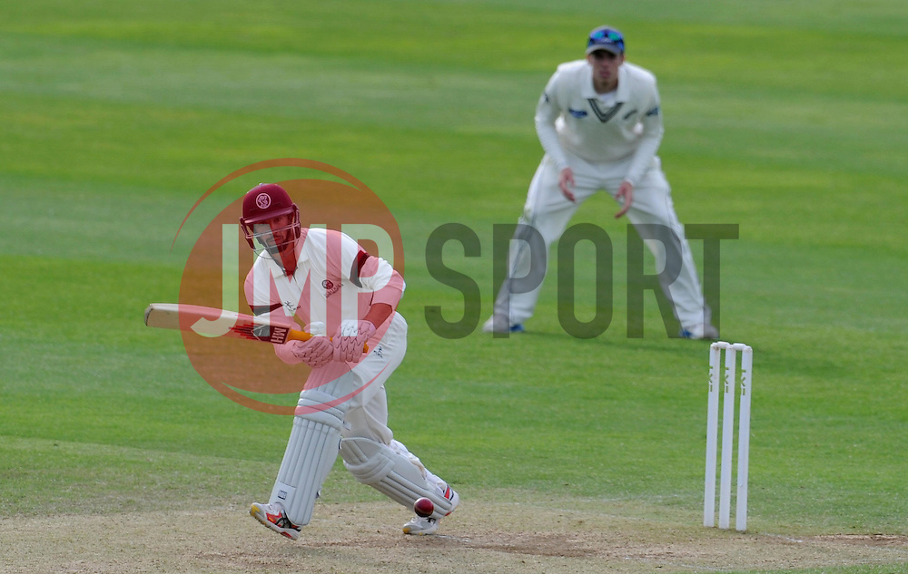 Somerset's Alex Barrow flicks the ball. Photo mandatory by-line: Harry Trump/JMP - Mobile: 07966 386802 - 10/05/15 - SPORT - CRICKET - Somerset v New Zealand - Day 3- The County Ground, Taunton, England.