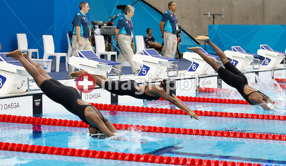 (L-R) Elsie Uwamahoro of Burundi, Assita Toure of Cote d'Ivoire and Angelika Ouedraogo of Burkina Faso start in the women's 50m Freestyle Heat 2 during the Swimming competition held at the Aquatics Center during the London 2012 Olympic Games in London, Great Britain, Friday, Aug. 3, 2012. (Photo by Patrick B. Kraemer / MAGICPBK)