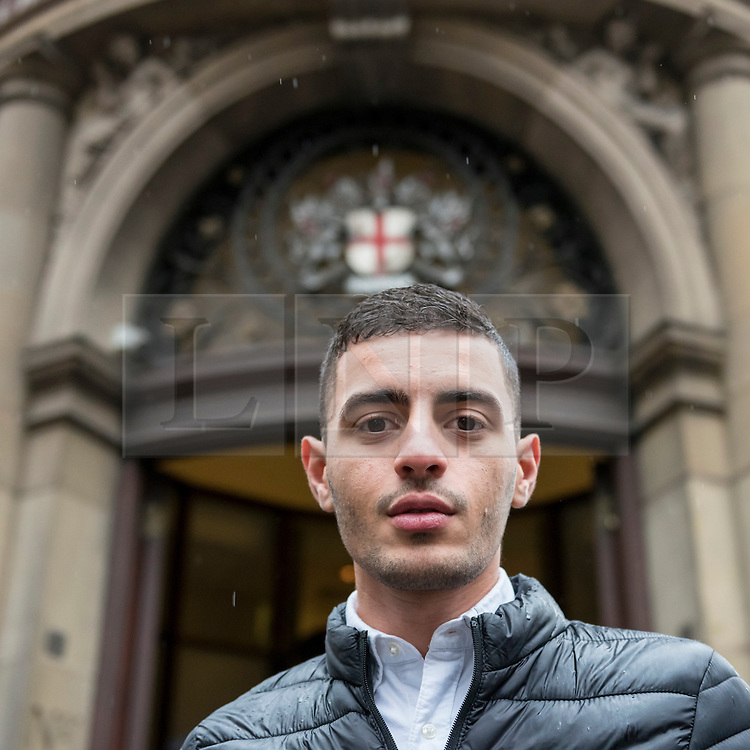 © Licensed to London News Picture 04/11/2016.  London, UK.  4 November 2016.  Supporters gather outside the City of London Magistrates' Court to show solidarity with Bahraini activist Isa (pictured), ahead of his court hearing today.  In July 2016, Isa was arrested during protests against the Farnborough International arms fair's gala dinner at the Science Museum as he campaigned to hold the UK government to account over weapons sales. Photo credit : Stephen Chung/LNP