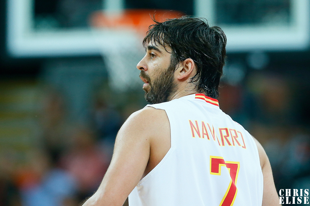 06 August 2012: Spain Juan-Carlos Navarro rests during 88-82 Team Brazil victory over Team Spain, during the men's basketball preliminary, at the Basketball Arena, in London, Great Britain.