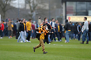 a young Newport county supporter shows his delight after his team win to  book their place in the Wembley final. Blue square bet premier div, play off semi final match, 2nd leg, Newport county v Grimsby Town at Rodney Parade in Newport, South Wales on Sunday 28th April 2013. pic by Andrew Orchard,  Andrew Orchard sports photography,