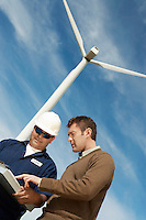 Engineers working at wind farm