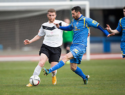 Edinburgh City&rsquo;s Jordan Caddow and Gretna FC2008&rsquo;s Adam Main. <br /> Half time : Edinburgh City 0 v 0 Gretna FC2008, Scottish Sun Lowland League game played at Meadowbank Stadium, 28/3/2015.