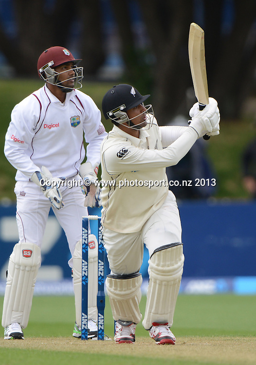 Ish Sodhi batting on Day 2 of the 2nd cricket test match of the ANZ Test Series. New Zealand Black Caps v West Indies at The Basin Reserve in Wellington. Thursday 12 December 2013. Mandatory Photo Credit: Andrew Cornaga www.Photosport.co.nz