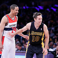 21 March 2014: Los Angeles Lakers guard Steve Nash (10) is seen next to Washington Wizards guard Andre Miller (24) during the Washington Wizards 117-107 victory over the Los Angeles Lakers at the Staples Center, Los Angeles, California, USA.