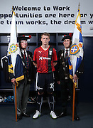 Dundee's Calvin Colquhoun models the new Dundee commemorative kit - The Dee will wear this kit against Ross County on Saturday 26th September to commemorate the centenary of the Battle of Loos. The kit includes the Regimental badge and tartan of the Black Watch<br /> <br /> Dundee are offering free tickets for the match to current and former members of the Armed Forces.<br /> <br /> © David Young<br /> davidyoungphoto@gmail.com<br /> www.davidyoungphoto.co.uk