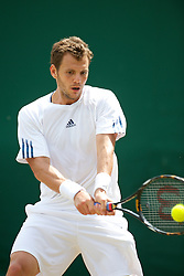 LONDON, ENGLAND - Friday, June 25, 2010: Paul-Henri Mathieu (FRA) during the Gentlemen's Singles 2nd Round on day five of the Wimbledon Lawn Tennis Championships at the All England Lawn Tennis and Croquet Club. (Pic by David Rawcliffe/Propaganda)