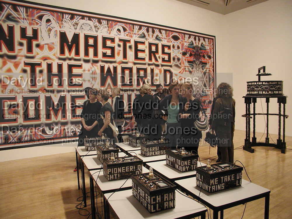 Mark Tichner's room, Turner Prize 2006 private view of an exhibition of work by this year's shortlist (Rebecca Warren, Tomma Abts, Phil Collins and Mark Titchner) for visual arts prize. Tate Brittain. London 3 October 2006. -DO NOT ARCHIVE-© Copyright Photograph by Dafydd Jones 66 Stockwell Park Rd. London SW9 0DA Tel 020 7733 0108 www.dafjones.com