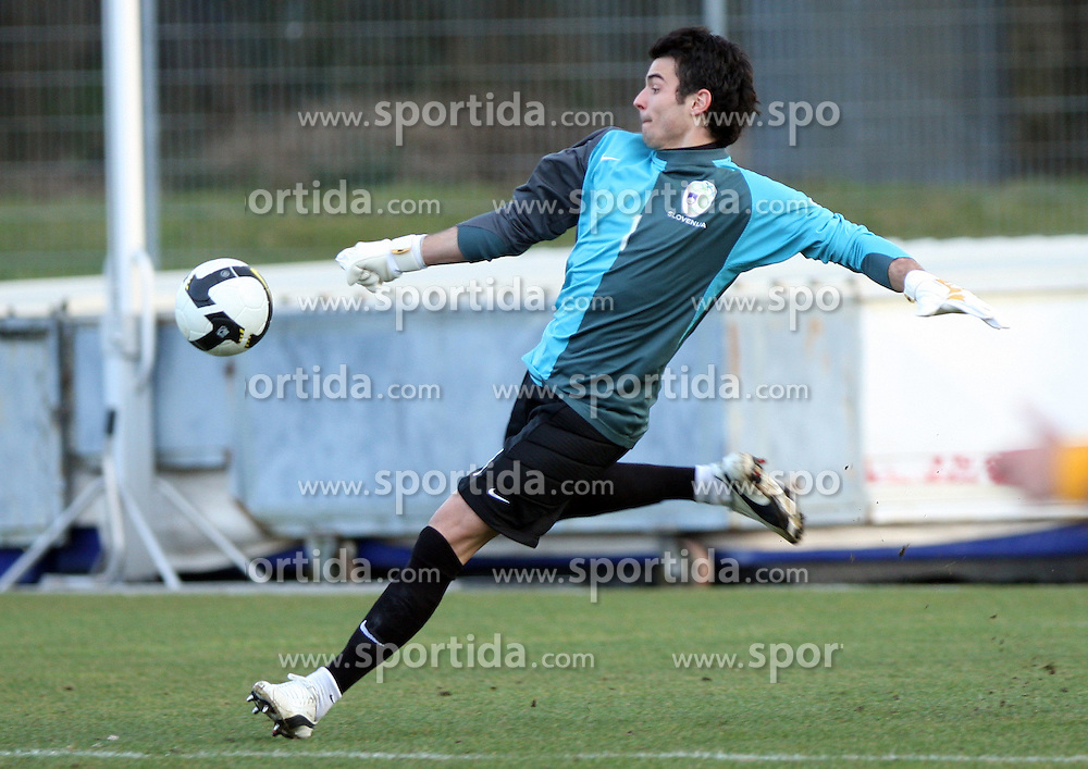 Goalkeeper of Slovenia Jan Koprivec during Friendly match between U-21 National teams of Slovenia and Romania, on February 11, 2009, in Nova Gorica, Slovenia. (Photo by Vid Ponikvar / Sportida)