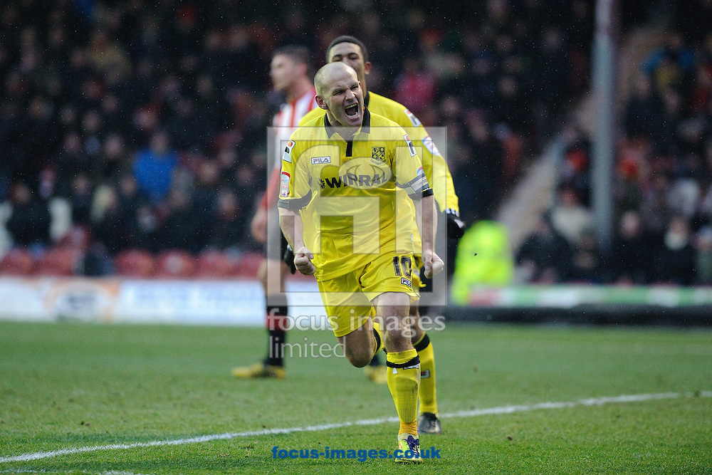 Picture by Gerald O'Rourke/Focus Images Ltd +44 7500 165179.19/01/2013.Andy Robinson of Tranmere Rovers celebrates scoring a penalty  during the npower League 1 match at Griffin Park, London.
