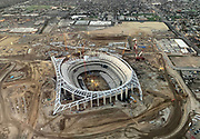 General overall aerial view of L.A. Stadium and Entertainment District at Hollywood Park under construction  on Saturday, Dec. 29, 2018 in Inglewood, Calif. The venue, privately financed by Los Angeles Rams owner Stan Kroenke, is scheduled to open in 2020. It will be the home to the Rams and the Los Angeles Chargers and will play host to Super Bowl LVI in 2022, 2023 College Football Playoff Championship and the opening and closing ceremonies of the 2028 Olympics,
