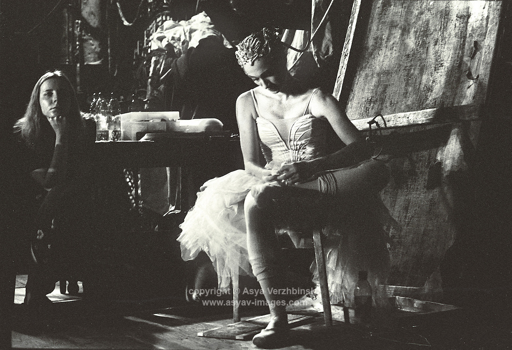 Deirdre Chapman in the wings before Act II of Swan Lake. Mariinsky Theatre,St. Petersburg, Russia<br />