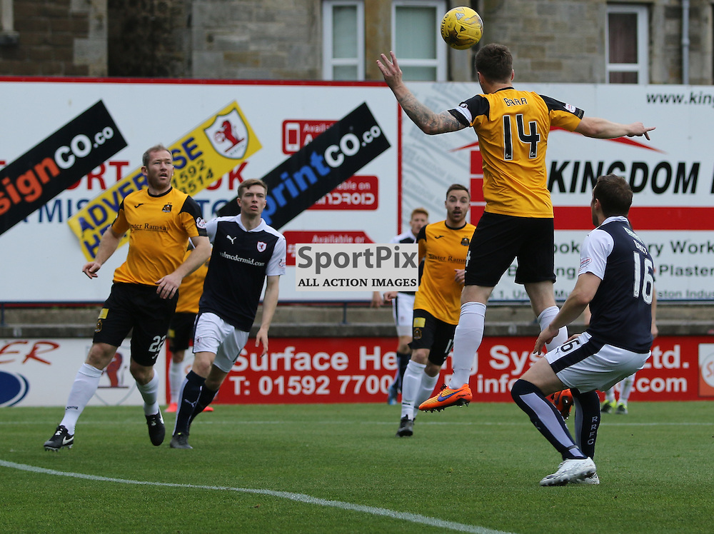 Darren Barr Clears for sons during the Raith Rovers Fc v Dumbarton FC Scottish Championship 26th September 2015 <br /> <br /> (c) Andy Scott | SportPix.org.uk