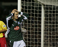 Photo: Lee Earle.<br /> Plymouth Argyle v Watford. The FA Cup. 11/03/2007.Plymouth's Paul Connolly looks dejected after going close late on in the game.