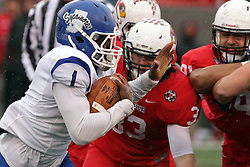 31 October 2015:  Pat Meehan(33) zeros in on ball runner LeMonte Booker(1) during the NCAA FCS Football between Indiana State Sycamores and Illinois State Redbirds at Hancock Stadium in Normal IL (Photo by Alan Look)