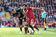 #11 Mohamed Salah, Crystal Palace #18 James McArthur  during the Premier League match between Liverpool and Crystal Palace at Anfield, Liverpool, England on 19 August 2017. Photo by Sebastian Frej.