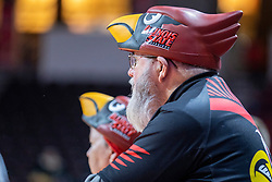 NORMAL, IL - February 27: Redbird fans with weird hats during a college women's basketball game between the ISU Redbirds and the Bears of Missouri State February 27 2020 at Redbird Arena in Normal, IL. (Photo by Alan Look)