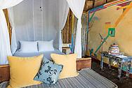 Interior of a bungalow at boutique hotel Villa Pescadores in Tulum, Mexico.
