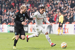 (L-R) Oscar Lewicki of Malmo FF, Gary Alexis Medel Soto of Besiktas JK during the UEFA Europa League group I match between between Besiktas AS and Malmo FF at the Besiktas Park on December 13, 2018 in Istanbul, Turkey