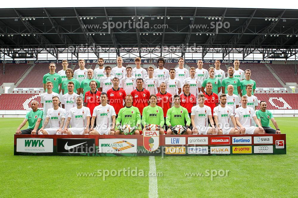 08.07.2015, WWK Arena, Augsburg, GER, 1. FBL, FC Augsburg, Fototermin, im Bild l-r: hinter Reihe, Marco Schuster #29 (FC Augsburg), Alexander Esswein #11 (FC Augsburg), Halil Altintop #7 (FC Augsburg), Ragnar Klavan #5 (FC Augsburg), Jeong-Ho Hong #20 (FC Augsburg), Francisco da Silva Caiuby #30 (FC Augsburg), Christoph Janker #16 (FC Augsburg), Nikola Djurdjic #34 (FC Augsburg), Markus Feulner #8 (FC Augsburg), Dominik Kohr #21 (FC Augsburg), l-r: 2 Reihe von hinten, Arzt Florian Elser (FC Augsburg),Mannschaftsarzt Andreas Weigel (FC Augsburg), Mannschaftsarzt Peter Stiller (FC Augsburg), Jan Moravek #14 (FC Augsburg), Raphael Framberger #32 (FC Augsburg), Paul Verhaegh #2 (FC Augsburg), Arif Ekin #31 (FC Augsburg), Daniel Baier #10 (FC Augsburg), Physiotherapeut James Morgen (FC Augsburg), Physio Marco Grimm (FC Augsburg), Physio Oliver Roesch (FC Augsburg), l-r: 2 Reihe von vorne, Maik Uhde #39 (FC Augsburg), Ronny Philp #3 (FC Augsburg), Videoanalyse Lars Gerling (FC Augsburg), Reha- und Athletik-Trainer Thomas Barth (FC Augsburg), Tortwarttrainer Zdenko Miletic (FC Augsburg), Co-Trainer Tobias Zellner (FC Augsburg), Co-Trainer Wolfgang Beller (FC Augsburg), Chef-Trainer Markus Weinzierl (FC Augsburg), Tobias Werner #13 (FC Augsburg), Bastian Kurz #26 (FC Augsburg), l-r: vorder Reihe, Zeugwart Zdenek Vidrman (FC Augsburg), Tim Rieder #40 (FC Augsburg), Sascha Moelders #33 (FC Augsburg), Dong Won Ji #22 (FC Augsburg), Alexander Manninger #1 (FC Augsburg), Marwin Hitz #35 (FC Augsburg), Yannik Oettl #28 (FC Augsburg), Max Reithaler #36 (FC Augsburg), Tim Matavz #23 (FC Augsburg), Jan-Ingwer Callsen-Bracker #18 (FC Augsburg), Zeugwart Salvatore Belardo (FC Augsburg) // during the official Team and Portrait Photoshoot of German Bundesliga Club FC Augsburg at the WWK Arena in Augsburg, Germany on 2015/07/08. EXPA Pictures &copy; 2015, PhotoCredit: EXPA/ Eibner-Pressefoto/ Kolbert<br /> <br /> *****ATTENTION - OUT of GER*****