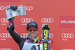 27.10.2013, Rettenbachferner, Soelden, AUT, FIS Weltcup, Ski Alpin, Riesenslalom, Herren, Podium, im Bild Ted Ligety from The USA race winner with his trophy // Ted Ligety from The USA race winner with his trophyon podium of mens Giant Slalom of the FIS Ski Alpine Worldcup opening at the Rettenbachferner in Soelden, Austria on 2012/10/27. EXPA Pictures © 2013, PhotoCredit: EXPA/ Mitchell Gunn<br /> <br /> *****ATTENTION - OUT of GBR*****