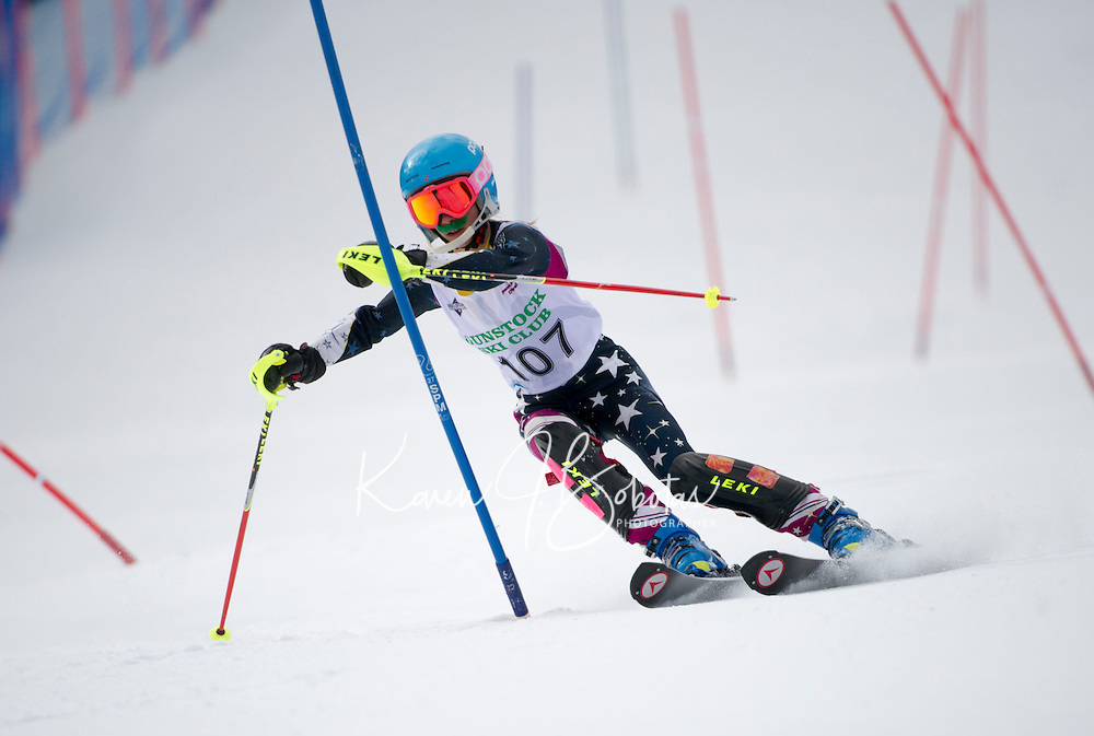 Piche Invitational Slalom U14 girls 1st run Sunday, March 17, 2013.  Karen Bobotas Photographer