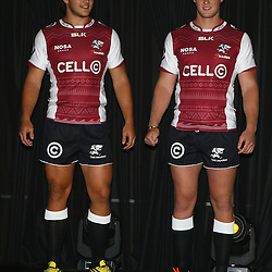 DURBAN, SOUTH AFRICA, December 3 2015 - Andre Esterhuizen with Daniel Du Preez during The Cell C Sharks Official Launch and unveiling of The Cell C Sharks Super Rugby Jersey at Growthpoint Kings Park in Durban, South Africa. (Photo by Steve Haag)<br /> images for social media must have consent from Steve Haag