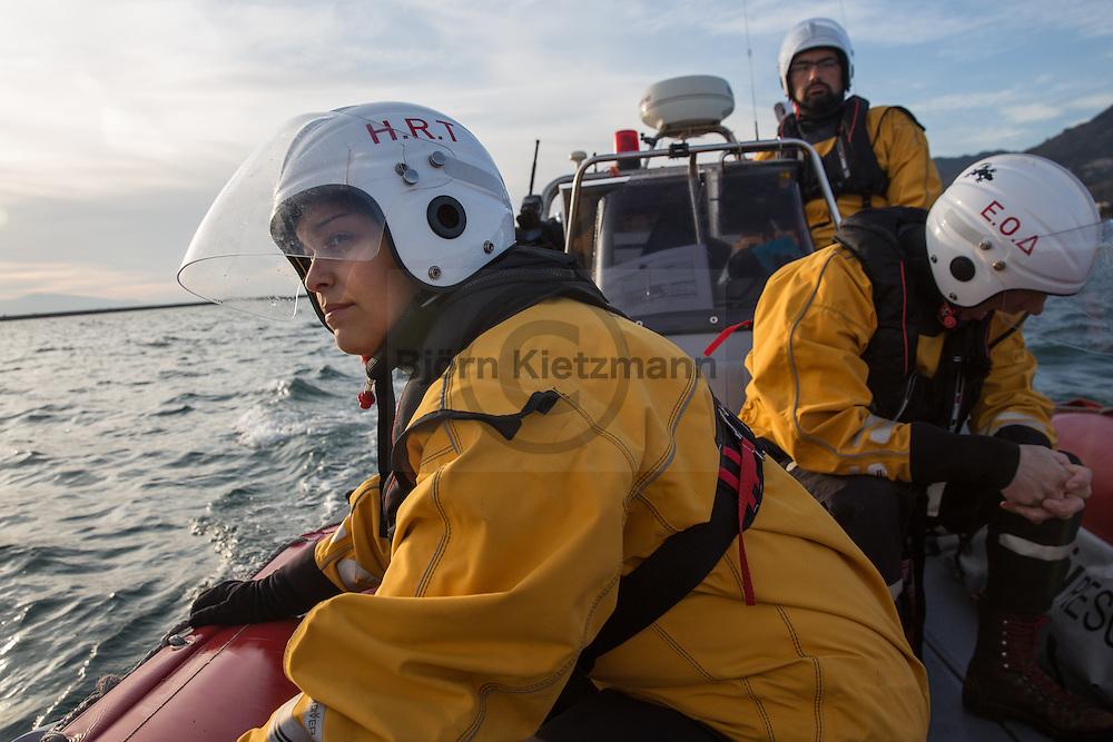 Mytilene, Lesvos, Greece - 07.03.2016      <br /> <br /> Patrol the Hellenic Rescue Team (HRT) in the sea near Lesvos with their speedboat Rescue 1. The HRT is involved in cooperation with the Greek Coastguard in the rescue of refugees.<br /> .<br /> <br /> Patrouillenfahrt des Hellenic Rescue Teams (HRT) in den Gew&auml;ssern vor Lesbos mit ihrem Schnellboot Rescue 1. Das HRT beteiligt sich in Kooperation mit der griechischen Kuestenwache an der Rettung von Fluechtlingen.<br /> <br /> Foto: Bjoern Kietzmann