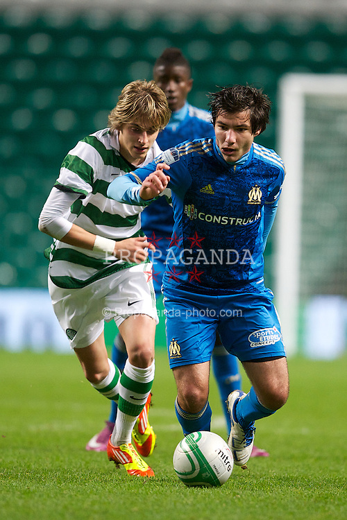 GLASGOW, SCOTLAND - Wednesday, December 7, 2011: Olympique de Marseille's Florian Moulet in action against Glasgow Celtic's Filip Twardzik during the NextGen Series Group 1 match at Celtic Park. (Pic by David Rawcliffe/Propaganda)