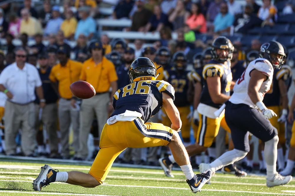 October 7, 2017 - Johnson City, Tennessee - William B. Greene Jr. Stadium: ETSU wide receiver Kobe Kelley (86)<br /> <br /> Image Credit: Dakota Hamilton/ETSU