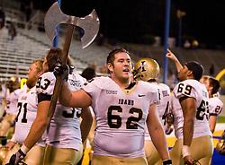 October 10, 2009; San Jose, CA, USA;  Idaho Vandals offensive lineman Adam Juratovac (62) celebrates after the game against the San Jose State Spartans at Spartan Stadium.  Idaho won 29-25.