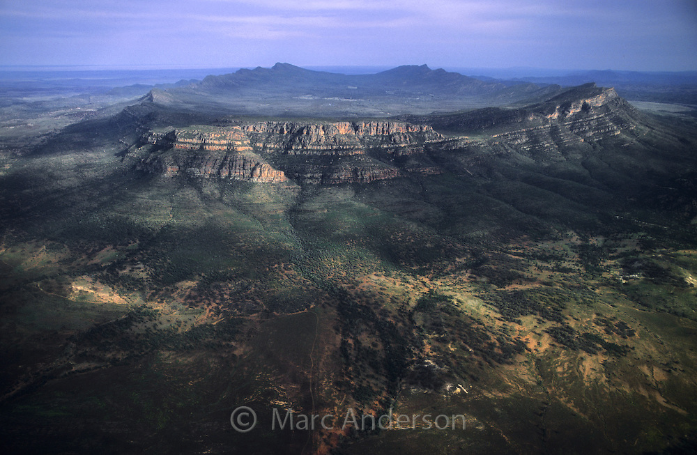 Aerial view of Wilpena Pound, Flinders Ranges National Park, South Australia.