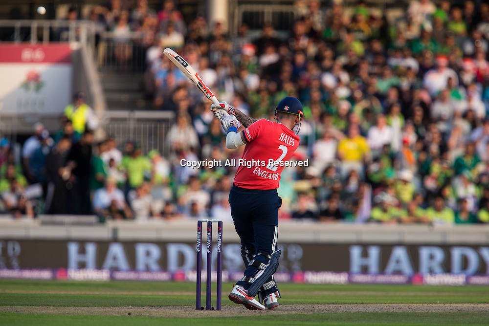 07.09.2016. Old Trafford, Manchester, England. Natwest International T20 Cricket. England Versus Pakistan. England top order batsman Alex Hales lifts the ball high towards the boundary