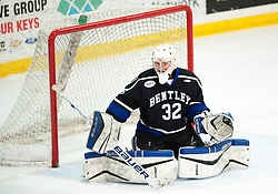 March 13 2016: Bentley Falcons goalie Jayson Argue (32) tends goal during the third period in game three of the Atlantic Hockey quarterfinals series between the Bentley Falcons and the Robert Morris Colonials at the 84 Lumber Arena in Neville Island, Pennsylvania (Photo by Justin Berl)