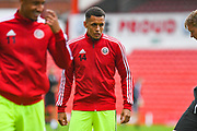 Sheffield United Ravel Morrison (14) warming up during the Pre-Season Friendly match between Barnsley and Sheffield United at Oakwell, Barnsley, England on 27 July 2019.