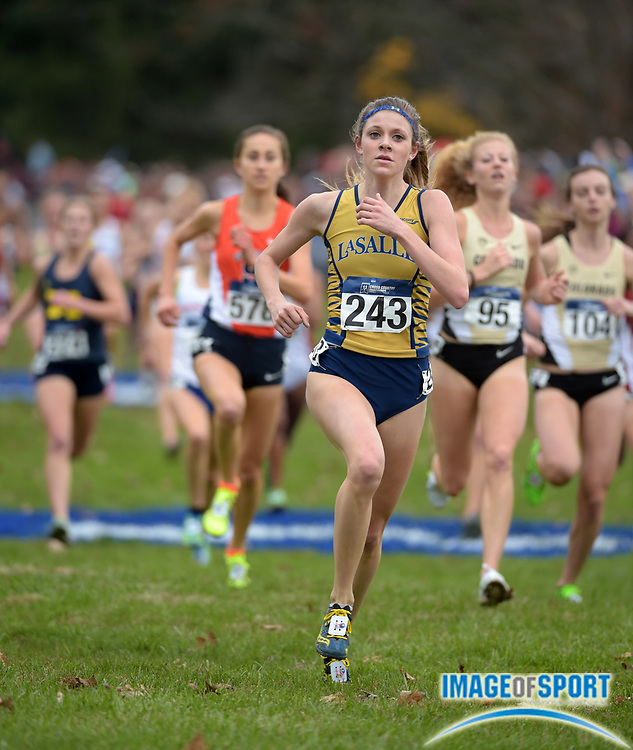 Nov 21, 2015; Louisville, KY, USA; Morgan Szekely of La Salle places 45th in the womens race in 20:29 during the 2015 NCAA cross country championships at Tom Sawyer Park. Mandatory Credit: Kirby Lee-USA TODAY Sports