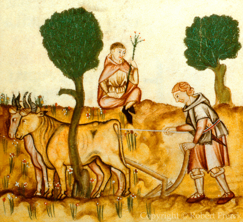 SPAIN, MIDDLE AGES, EL ESCORIAL 13thC Cantigas illuminated poems created for Alfonso X of Castile shows plowing, medieval agriculture