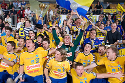 Team of Cimos Koper celebrates at Final match of Slovenian Men Handball Cup between RK Cimos Koper and RK Celje Pivovarna Lasko, on April 19, 2009, in Arena Bonifika, Koper, Slovenia. Cimos Koper won 24:19 and became Slovenian Cup Champion. (Photo by Vid Ponikvar / Sportida)