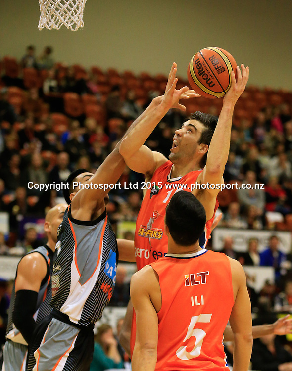 Sharks Adrian Majstrovich puts up a shot. NBL basketball, Hawkes Bay Hawks  v Southland Sharks, PG Arena, Napier, New Zealand. Saturday,  30 May, 2015. Copyright photo: John Cowpland / www.photosport.co.nz