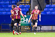 Bradford City defender Paudie O'Connor celebrates his goal during the EFL Trophy match between Bolton Wanderers and Bradford City at the University of  Bolton Stadium, Bolton, England on 3 September 2019.