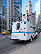 The Chicago Police Department brought a paddy wagon to the demonstration, suggesting that they believe arrests are a possibility today.