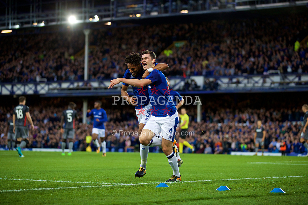 LIVERPOOL, ENGLAND - Thursday, August 17, 2017: Everton's Michael Keane celebrates scoring the first goal with team-mate Ashley Williams during the UEFA Europa League Play-Off 1st Leg match against HNK Hajduk Split at Goodison Park. (Pic by David Rawcliffe/Propaganda)