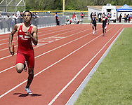Trotwood's Anthony Gibson (left) finshes well ahead of Hilliard Darby and Eastmoor Acadamy to win the 4x400 Meter Relay during the Buff Taylor Memorial Track & Field Invitational at the Good Samaritan Sports Plex at Trotwood Madison High School, Saturday, May 10, 2008.