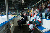 KELOWNA, CANADA - APRIL 8: Braydyn Chizen #22 of the Kelowna Rockets sits in the penalty box against the Portland Winterhawks on April 8, 2017 at Prospera Place in Kelowna, British Columbia, Canada.  (Photo by Marissa Baecker/Shoot the Breeze)  *** Local Caption ***