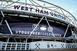 West Ham United pay tribute to Leicester City at the London Stadium after the Helicopter Crash which killed Chairman Vichai Srivaddhanaprabha - Mandatory by-line: Robbie Stephenson/JMP - 31/10/2018 - FOOTBALL - London Stadium - London, England - West Ham United v Tottenham Hotspur - Carabao Cup