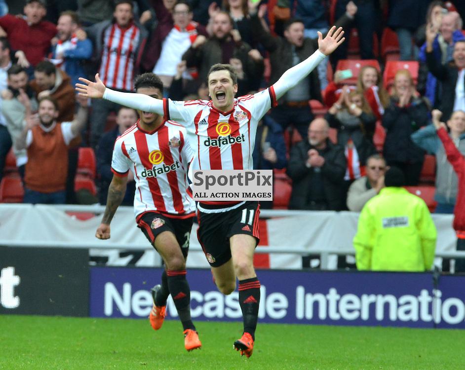 Sunderland's Adam Johnson celebrates his penalty that puts his team 1-0 up against Newcastle ....(c) BILLY WHITE | SportPix.org.uk